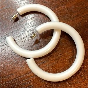 White acrylic trendy hoop earrings